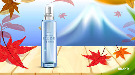 Luxury cosmetic Bottle package skin care cream, Beauty cosmetic product poster, with Fuji mountain and maple leaves on wooden floor background, Autumn season in japan