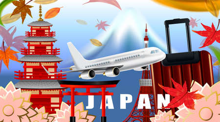 Panorama of autumn season red maple leaves with Fuji mountain in Japan world famous landmarks, Travel concept, airplane transportation Ilustrace