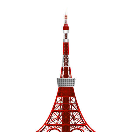 Tokyo Tower in japan, vector Illustration, Japanese famous place and landmark, travel concept