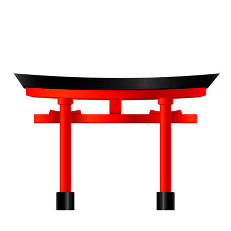 Temple gate in japan, vector Illustration, Japanese famous place and landmark, travel concept