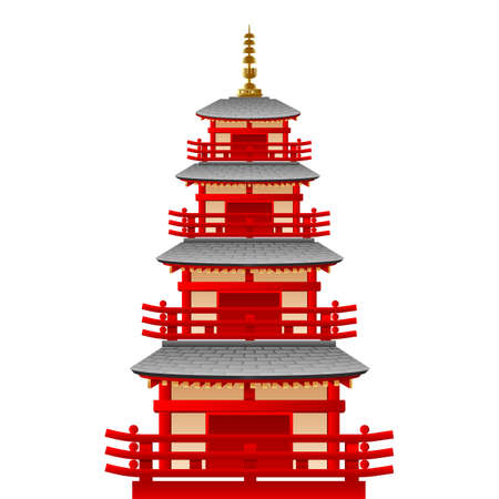 Temple tower in japan, vector Illustration, Japanese famous place and landmark, travel concept Illustration