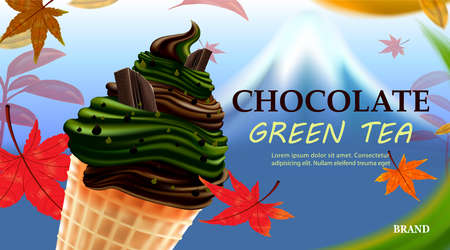 Delicious milk green tea chocolate mix ice cream with Autumn on fuji and maple leaves background, vector illustration