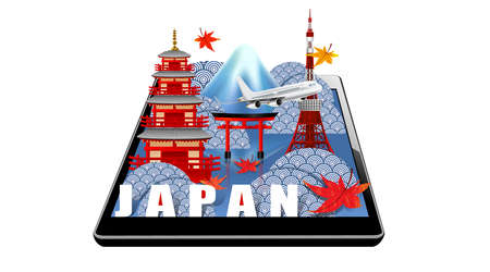 Panorama of autumn season red maple leaves with Fuji mountain in Japan world famous landmarks on tablet, Travel concept, airplane transportation