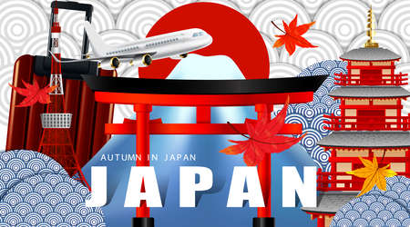 Panorama of autumn season red maple leaves with mountain and torii gate and pagoda in Japan world famous landmarks, Travel concept, airplane transportation Illustration