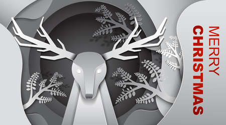 Reindeer in the forest, we wish you a Merry Christmas and Happy New Year, Paper art design, Advertising with winter composition in paper cut style, black and white tone