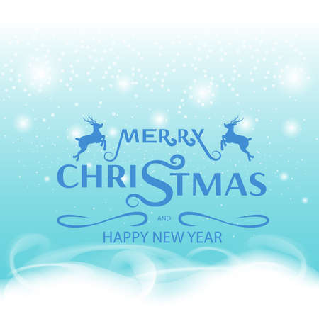 Merry Christmas and Happy New Year, greeting card design, Advertising with winter composition on blue tone background Ilustração
