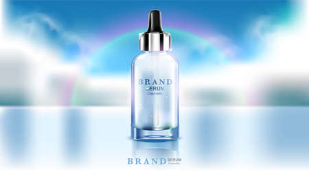 Luxury cosmetic Bottle package skin care cream, Beauty cosmetic product poster, on blue cloudy sky and reflex river background, 3d illustration Ilustração