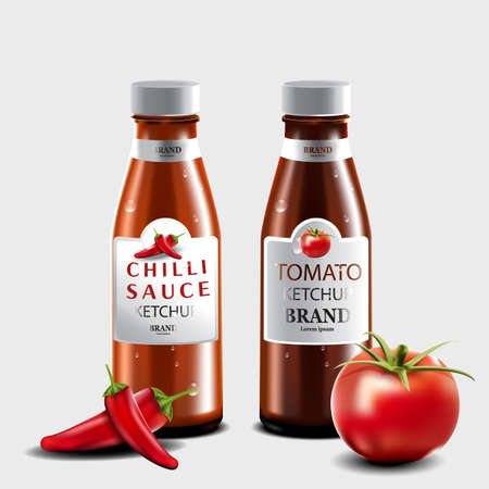 Tomato ketchup and chilli sauce with isolated on gray background, for eating with a variety of food, 3d illustrator Ilustração
