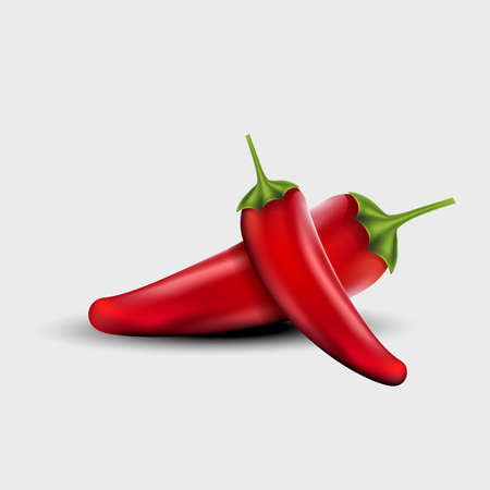 Realistic Red Chilli isolated White Background