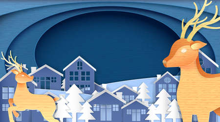 Merry Christmas and Happy New Year, Paper art design, Advertising with winter composition in paper cut style background Ilustração