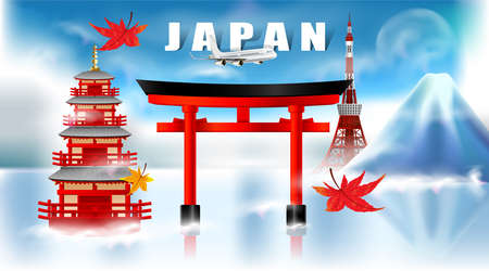 Panorama of autumn season red maple leaves with Fuji mountain and torii gate and pagoda in Japan world famous landmarks, Travel concept, airplane transportation