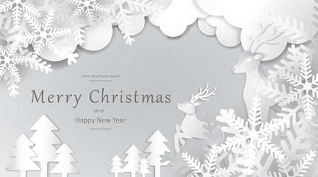 Merry Christmas and Happy New Year, Paper art design, Advertising with winter composition in paper cut style background 矢量图像