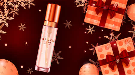 Luxury cosmetic Bottle package skin care cream, Beauty cosmetic product poster, with christmas background