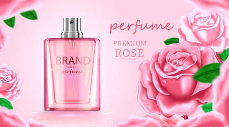 Luxury cosmetic Bottle package skin care cream, Beauty cosmetic product poster, with Rose and pink color background Illustration