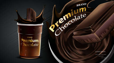Delicious dark chocolate drink with falling in a clear plastic cup and splash on brown color background, luxury Dessert Vectores