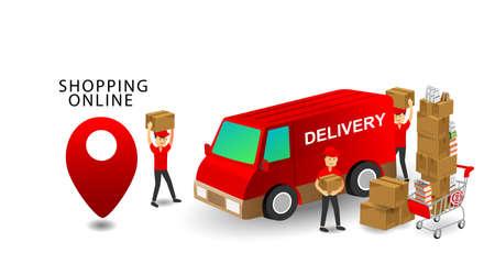 Online-Shopping-Konzept, Service Team Delivery Worker, Produkte im Warenkorb mit isoliertem weißem Hintergrund Vektorgrafik