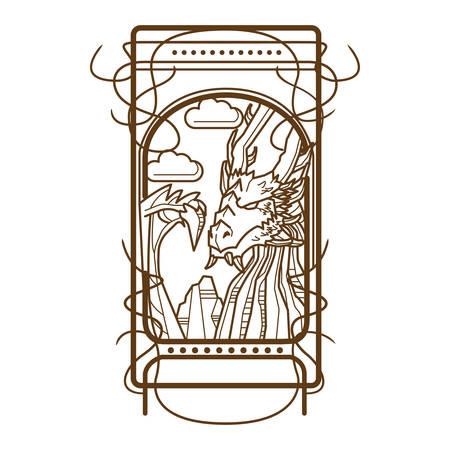 Traditional european dragon, vector illustration Illustration