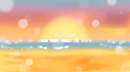 Beach and sea sunlight, summer holidays vector illustration Illusztráció