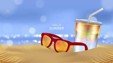 Summer beach and sea sunlight, Soda cocktail and Sunglasses on beach background in 3d illustration Illusztráció