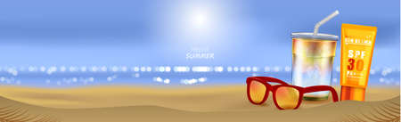 Summer beach and sea sunlight, Sunscreen cream and Sunglasses on beach background in 3d illustration