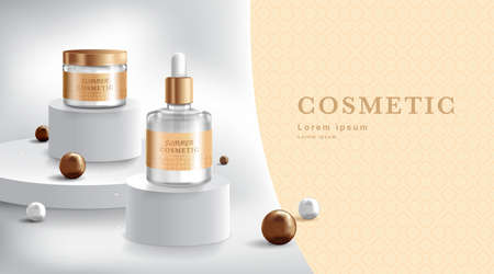 Advertising for cream and spray. Cosmetic tube and realistic bottle at stage pedestal. Branding and packaging design template. vector illustration Vecteurs