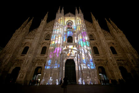 Proyections on Milan s Chatedral by night photo