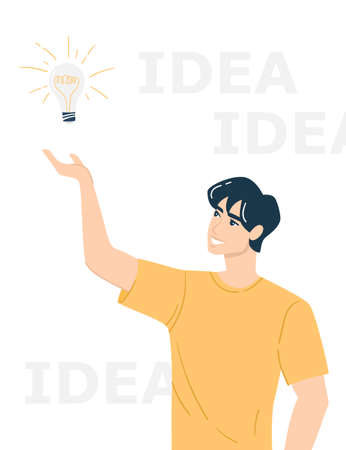 """Gesture """"have an idea"""". The young man had an idea. A man holds a lamp as a symbol of a new idea. Flat vector illustration with a man and the inscription """"idea"""". Ilustracje wektorowe"""