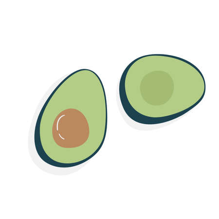 Flat illustration of cut avocado. Ripe delicious fruit. Tasty Hass avocado isolated on white background. Healthy food for proper nutrition.