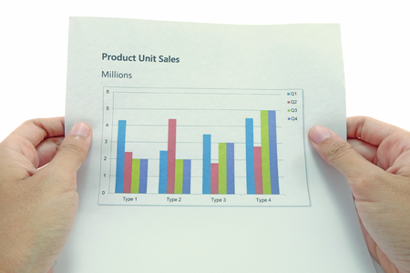 administer: Marketing and sales report Paper is held with both hands in isolated using free Source sans pro font in paper