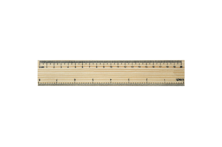centimeters: 20 centimeters (8 inches)  wood pattern ruler (isolated and have clipping path)