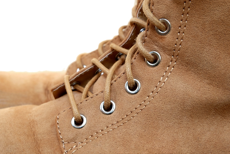 eyelets of flannel boots (isolated mode) Stock Photo