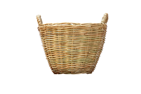 enrich: side view of the brown weave basket (isolated and have clipping path)