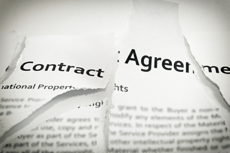 The contract was torn to pieces (Using Source sans pro font which anyone can use them on commercial project) with darken around edge of frame