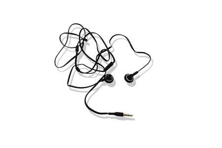 earphone: black earphone Thousands getting tangled with light shadow(isolated mode) Stock Photo