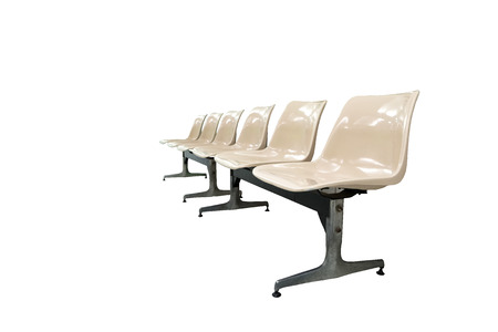 time critical: Row of cream brown Plastic Chairs (isolated and have clipping path)