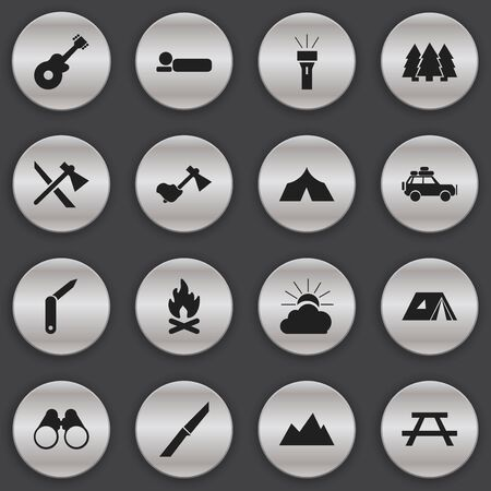 conflagration: Set Of 16 Editable Trip Icons. Includes Symbols Such As Desk, Fever, Musical Instrument And More. Can Be Used For Web, Mobile, UI And Infographic Design.