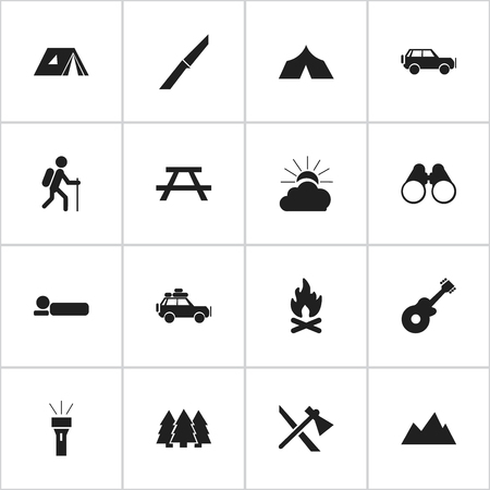 gait: Set Of 16 Editable Travel Icons. Includes Symbols Such As Knife, Bedroll, Field Glasses And More. Can Be Used For Web, Mobile, UI And Infographic Design.