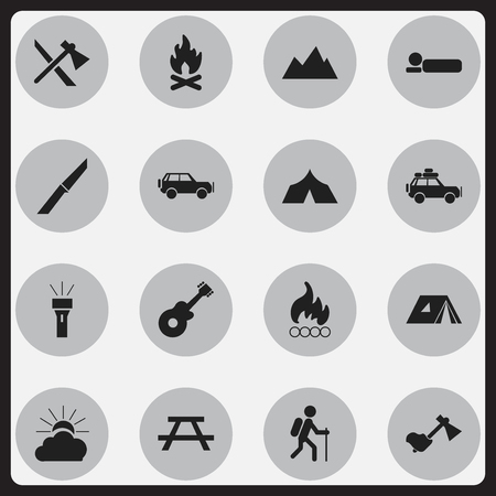 tabernacle: Set Of 16 Editable Travel Icons. Includes Symbols Such As Blaze, Lantern, Ax And More. Can Be Used For Web, Mobile, UI And Infographic Design.