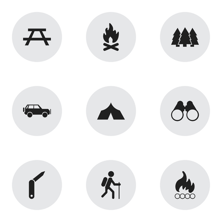 penknife: Set Of 9 Editable Travel Icons. Includes Symbols Such As Blaze, Pine, Field Glasses And More. Can Be Used For Web, Mobile, UI And Infographic Design.