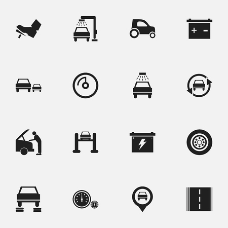 Set Of 16 Editable Car Icons. Includes Symbols Such As Treadle, Car Fixing, Tuning Auto And More. Can Be Used For Web, Mobile, UI And Infographic Design. Illustration