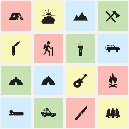 refuge: Set Of 16 Editable Travel Icons. Includes Symbols Such As Pine, Tomahawk, Voyage Car And More. Can Be Used For Web, Mobile, UI And Infographic Design. Illustration