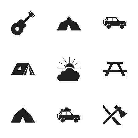 tabernacle: Set Of 9 Editable Travel Icons. Includes Symbols Such As Refuge, Sunrise, Voyage Car And More. Can Be Used For Web, Mobile, UI And Infographic Design.