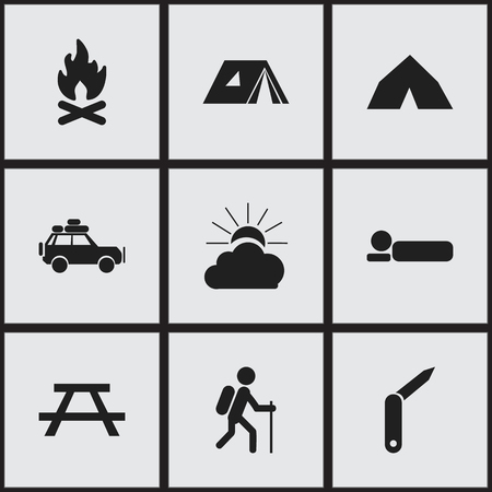 conflagration: Set Of 9 Editable Trip Icons. Includes Symbols Such As Clasp-Knife, Bedroll, Shelter And More. Can Be Used For Web, Mobile, UI And Infographic Design.