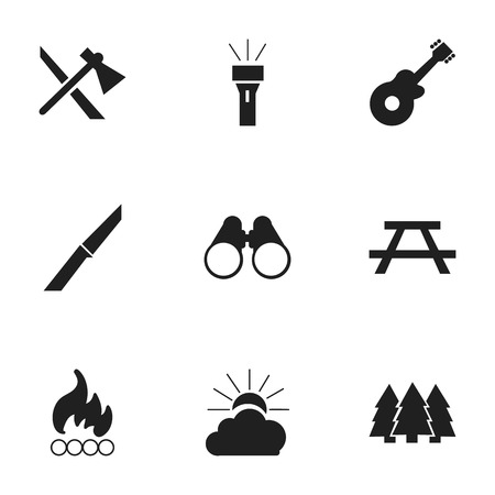 conflagration: Set Of 9 Editable Camping Icons. Includes Symbols Such As Blaze, Lantern, Pine And More. Can Be Used For Web, Mobile, UI And Infographic Design.