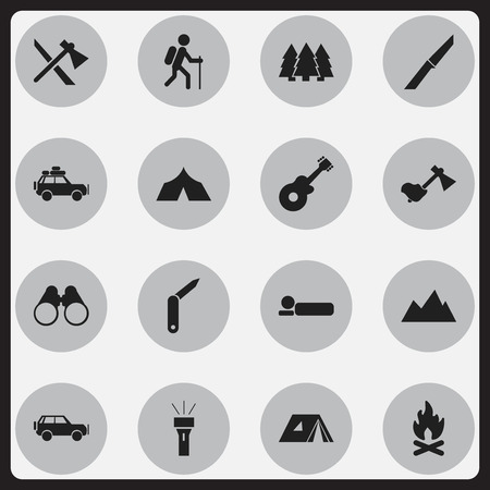 penknife: Set Of 16 Editable Trip Icons. Includes Symbols Such As Fever, Gait, Shelter And More. Can Be Used For Web, Mobile, UI And Infographic Design.