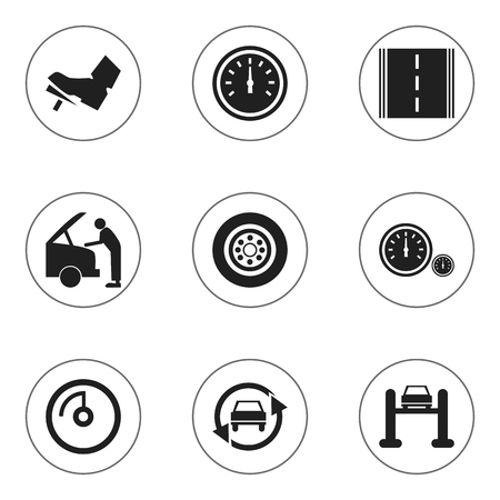 treadle: Set Of 9 Editable Traffic Icons. Includes Symbols Such As Highway, Auto Service, Treadle And More. Can Be Used For Web, Mobile, UI And Infographic Design.