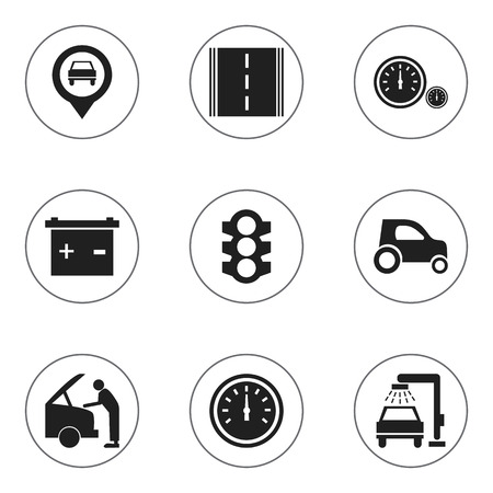 Set Of 9 Editable Car Icons. Includes Symbols Such As Stoplight, Pointer, Highway And More. Can Be Used For Web, Mobile, UI And Infographic Design. Illustration