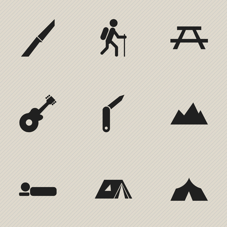 tabernacle: Set Of 9 Editable Camping Icons. Includes Symbols Such As Clasp-Knife, Bedroll, Desk And More. Can Be Used For Web, Mobile, UI And Infographic Design.