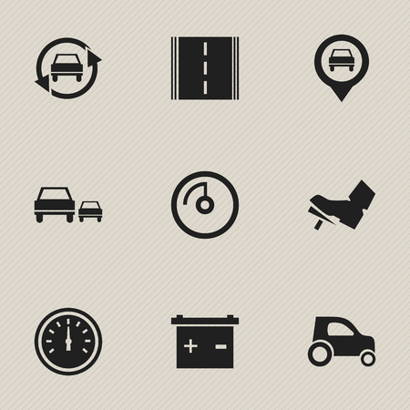 Set Of 9 Editable Transport Icons. Includes Symbols Such As Pointer, Speed Display, Treadle And More. Can Be Used For Web, Mobile, UI And Infographic Design. Illustration