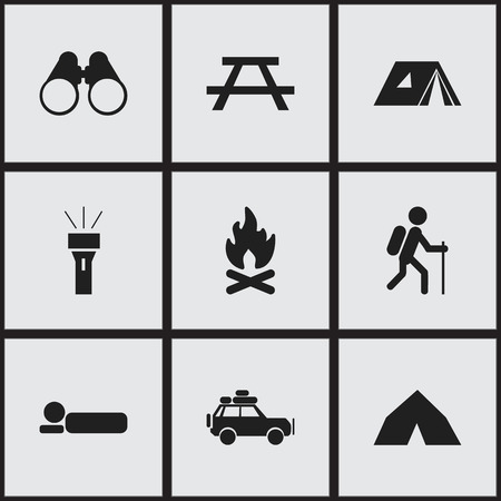 bonfire night: Set Of 9 Editable Camping Icons. Includes Symbols Such As Gait, Field Glasses, Lantern And More. Can Be Used For Web, Mobile, UI And Infographic Design.